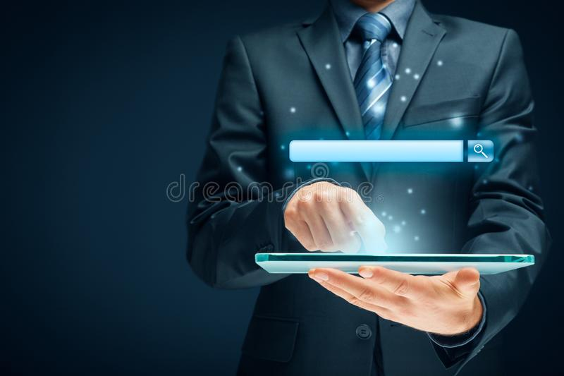 Search and SEO. Search, find and SEO internet concepts. Tablet user and web search engine web browser represented by address line royalty free stock image