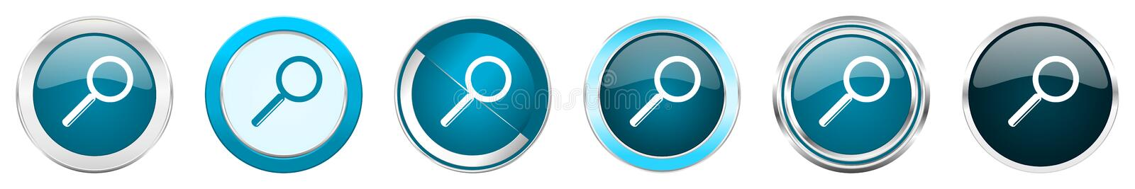 Search silver metallic chrome border icons in 6 options, set of web blue round buttons isolated on white background.  vector illustration