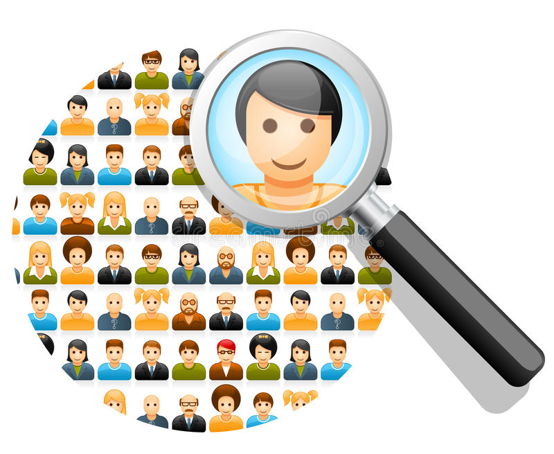 Search in social network. Social network search and connections concept with magnifying glass vector illustration
