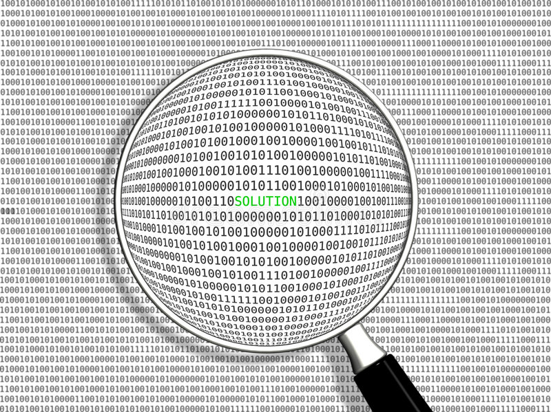 Search - solution. Searching thru the binary code. SOLUTION found stock illustration