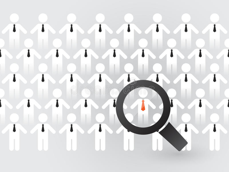 Search for suitable employees. With magnifyingglass stock illustration