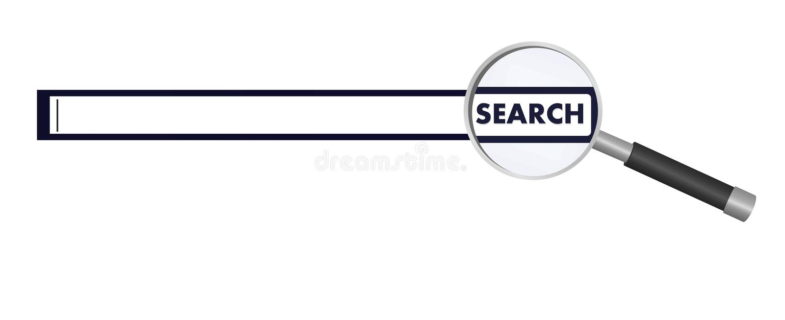 Search tab with magnifying glass. Vector illustration royalty free illustration