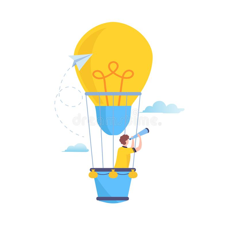 Search to big Idea. Vision, looking for future, Business People flying in a hot air balloon. Flat cartoon illustration vector. Graphic on white background vector illustration