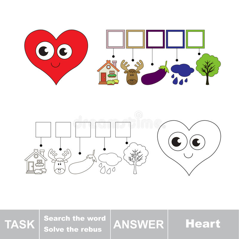Search the word. Find hidden word Heart stock illustration