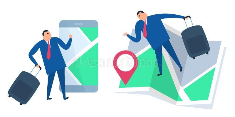 Searchig del hombre de negocios para la ubicación en el mapa Enfermedad del concepto del vector libre illustration