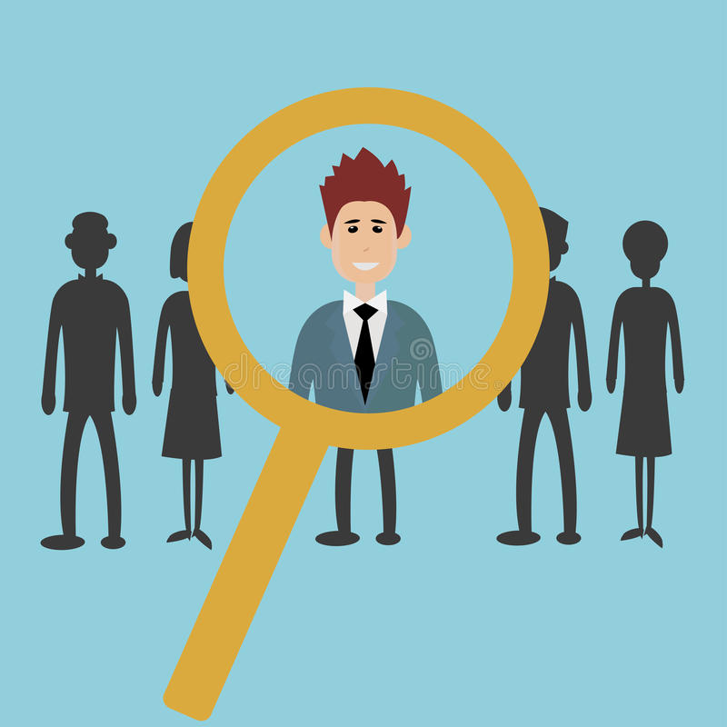 Searching for the best candidate. With a magnifying glass - hiring for a job concept - vector stock illustration