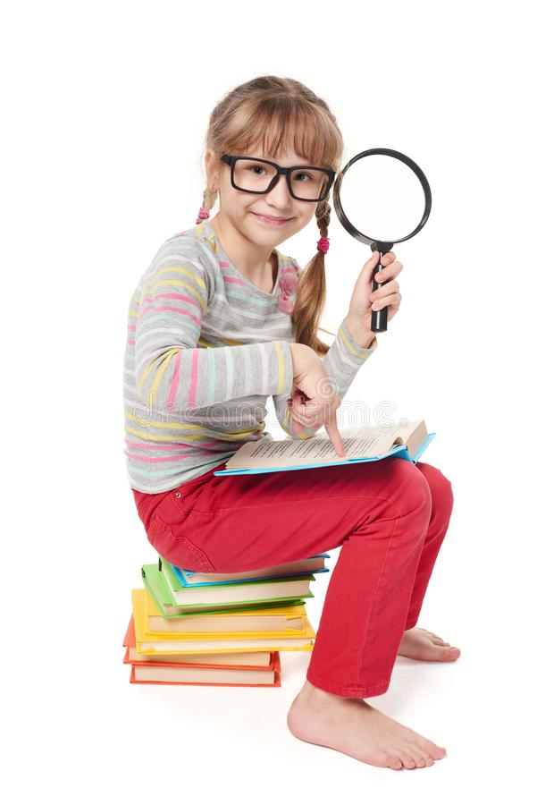 Searching in books stock photography