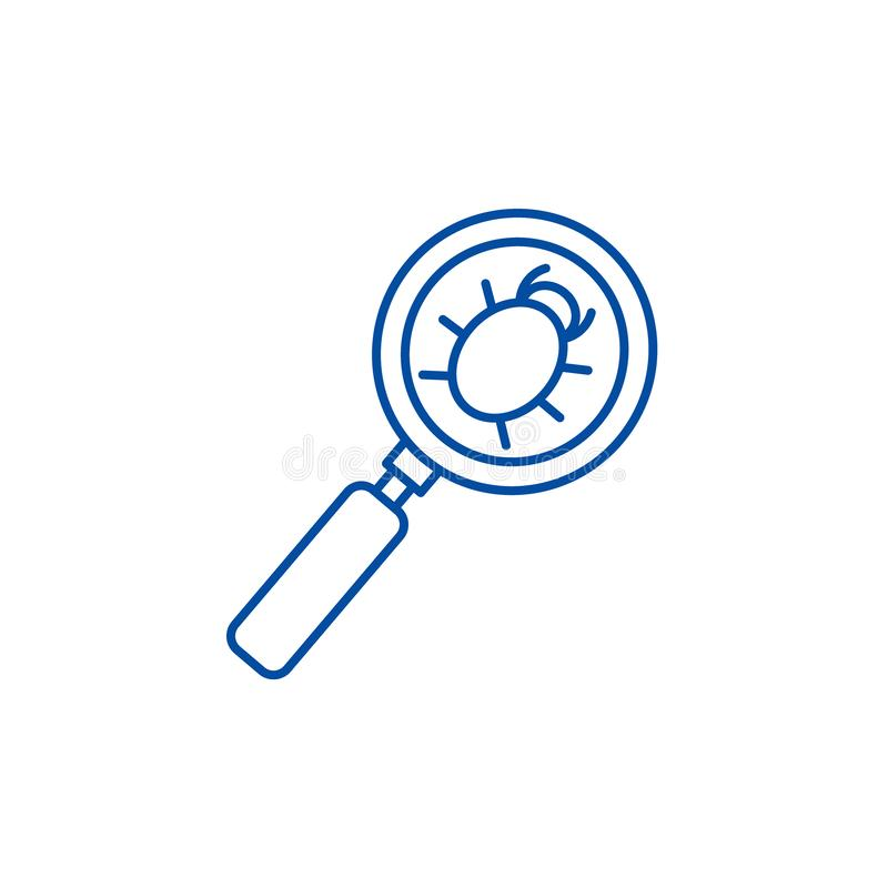 Searching bug line icon concept. Searching bug flat  vector symbol, sign, outline illustration. vector illustration