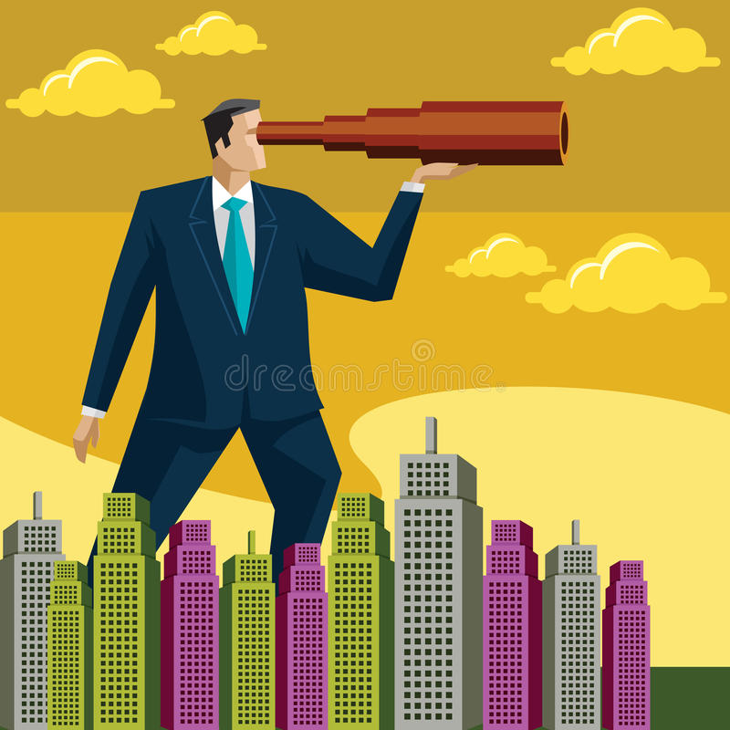 Searching Business Opportunity. Searching a businessman, Business Opportunity royalty free illustration