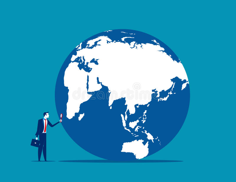 Searching. A businessman looking globe with magnifying. Concept vector illustration