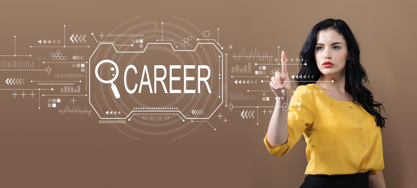Searching career theme with business woman. On a brown background royalty free stock photos