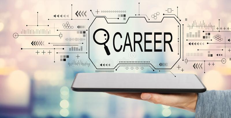 Searching career theme with tablet computer royalty free stock image