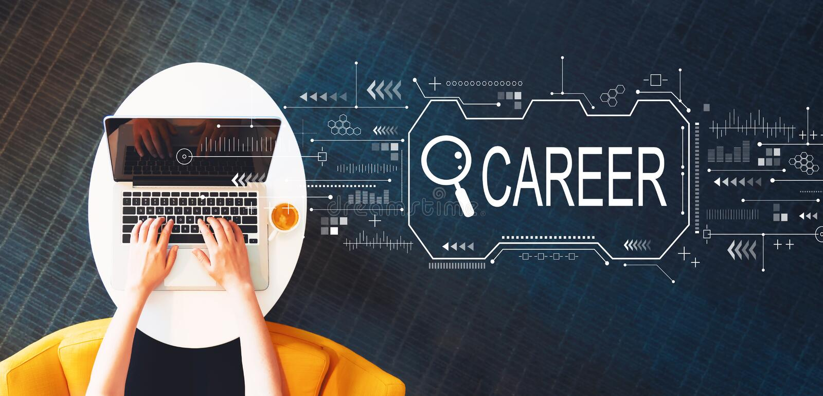 Searching career theme with person using a laptop royalty free stock photography