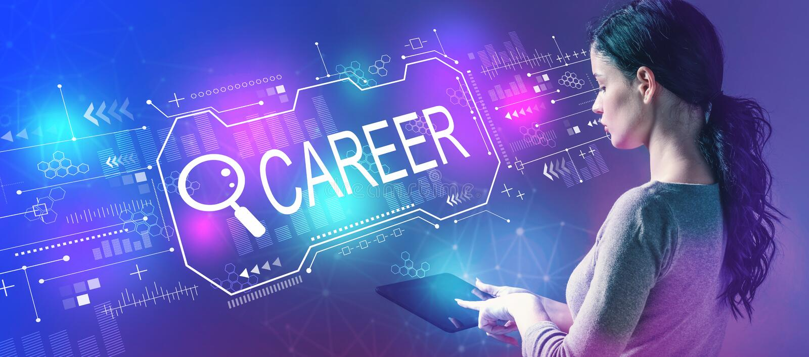 Searching career theme with woman using a tablet stock images