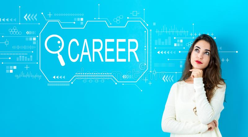 Searching career theme with young woman stock photography