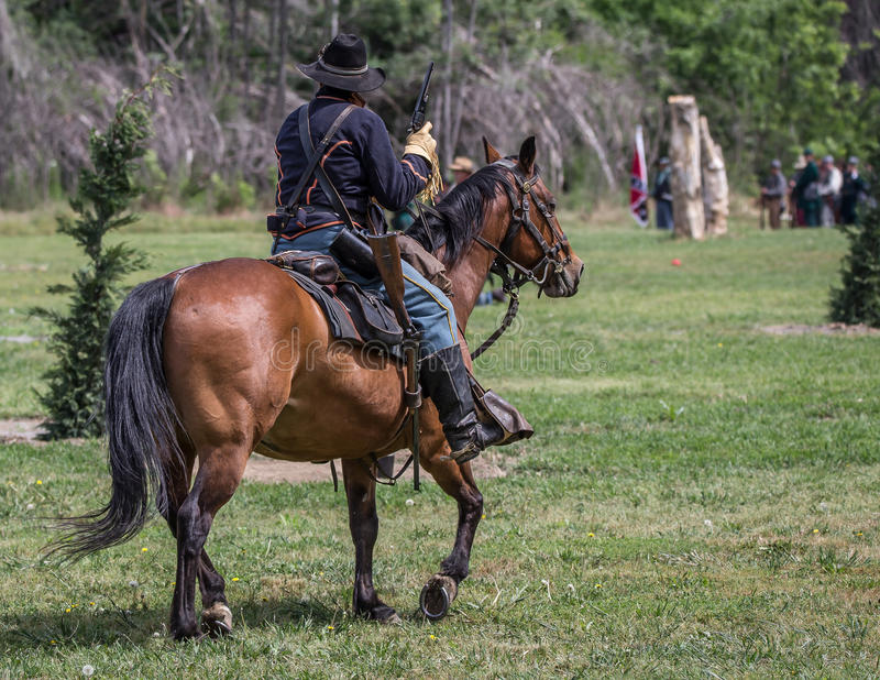 Searching. Civil War era soldiers in battle at the Dog Island reenactment in Red Bluff, California stock photos