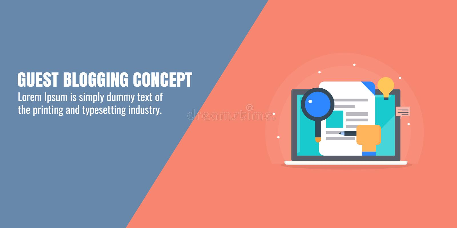 Guest blogging, content research, writing, publishing, influencer strategy, content marketing, social media promotion. Flat banner. Searching data for content royalty free illustration