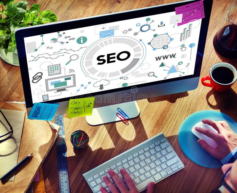 Searching Engine Optimizing SEO Browsing Concept royalty free stock photos