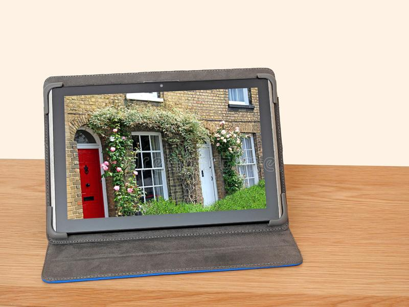 Searching for hoilday homes cottages internet online stock photos