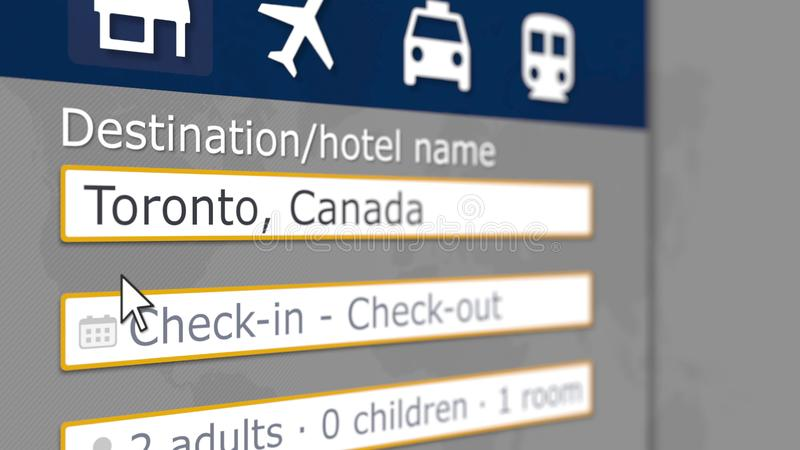 Searching hotel in Toronto, Canada on an online booking site. Travel related 3D rendering. Searching hotel on an online booking site. Travel related 3D stock illustration