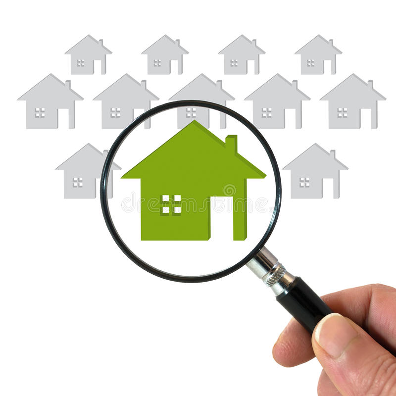 Searching for house. Hand with magnifying glass searching for house. Buying house and real estate concept