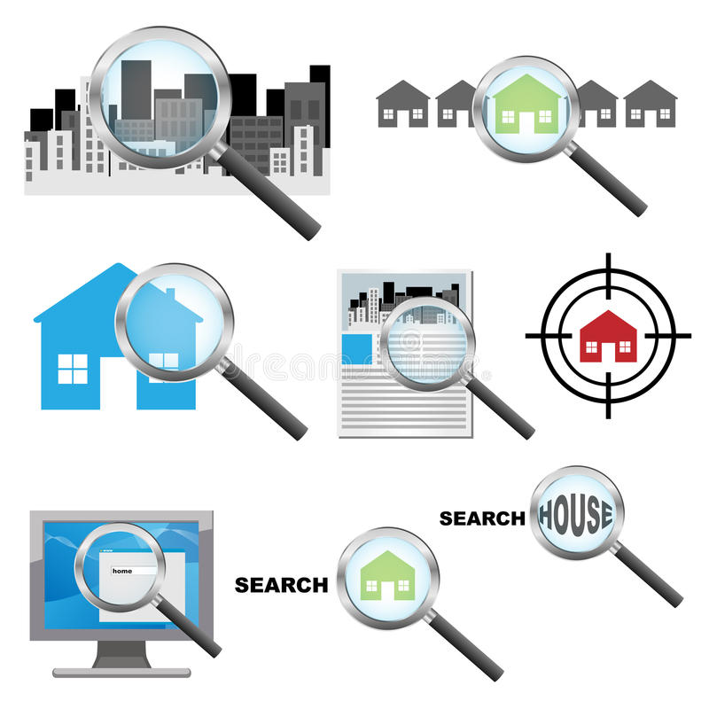 Download Searching house icons stock vector. Image of real, market - 22646448