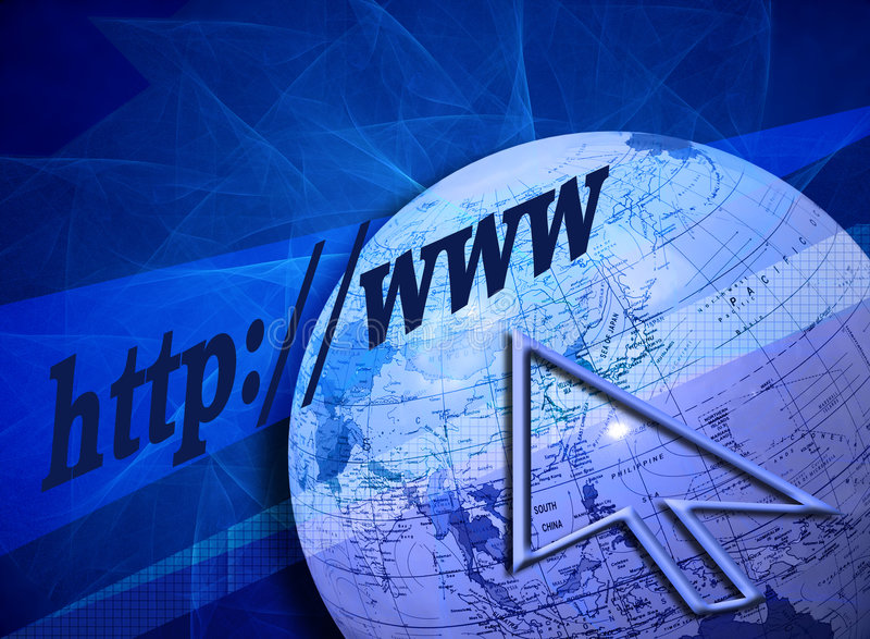Searching the Internet. (Web-)design with a creative blue background and partly grid patterns. The arrow, globe and text are leading to the title Searching the stock illustration