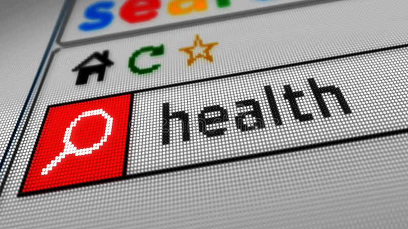 Searching internet health. Searching for health on the Internet. Typing keyword in www browser on computer, smartphone or tablet. Close view of screen display stock illustration