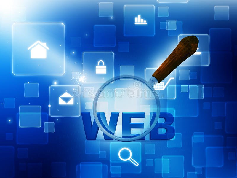 Searching the internet web. 3d magnifying Glass is searching the internet web royalty free illustration