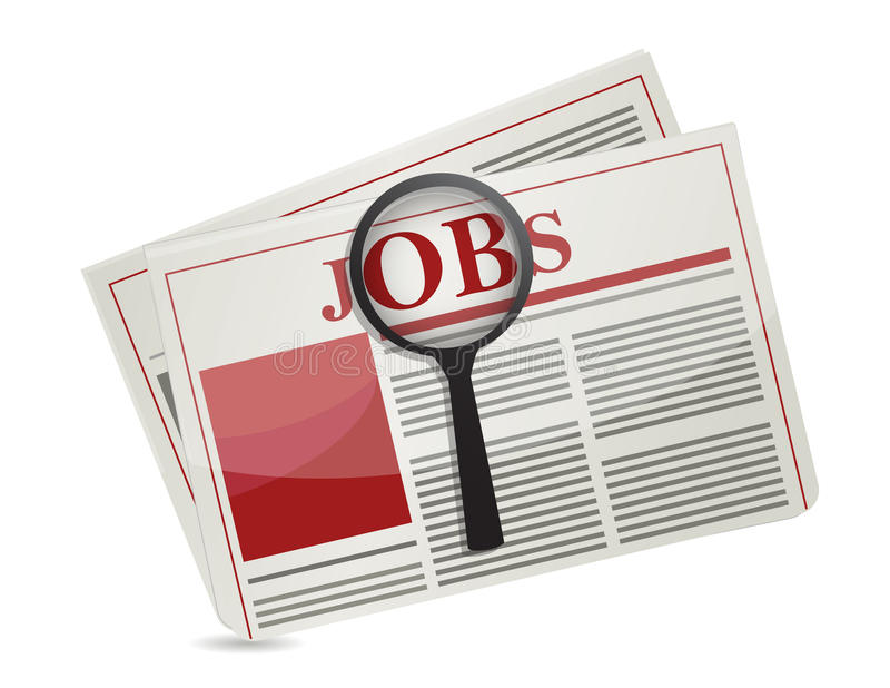 Searching for jobs in the news paper. Illustration design royalty free illustration