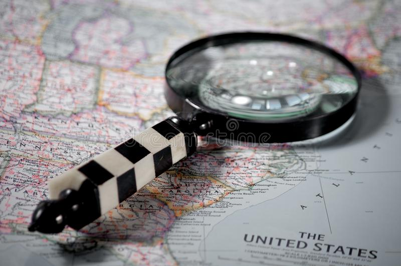 Searching on a map stock image