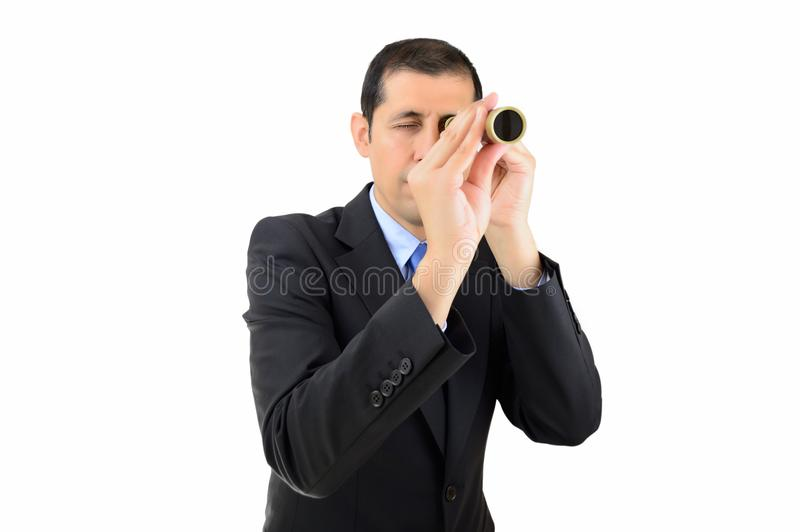 Searching a new job. Businessman entrepreneur looking through spyglass searching business and employment opportunities isolated on white background stock photo