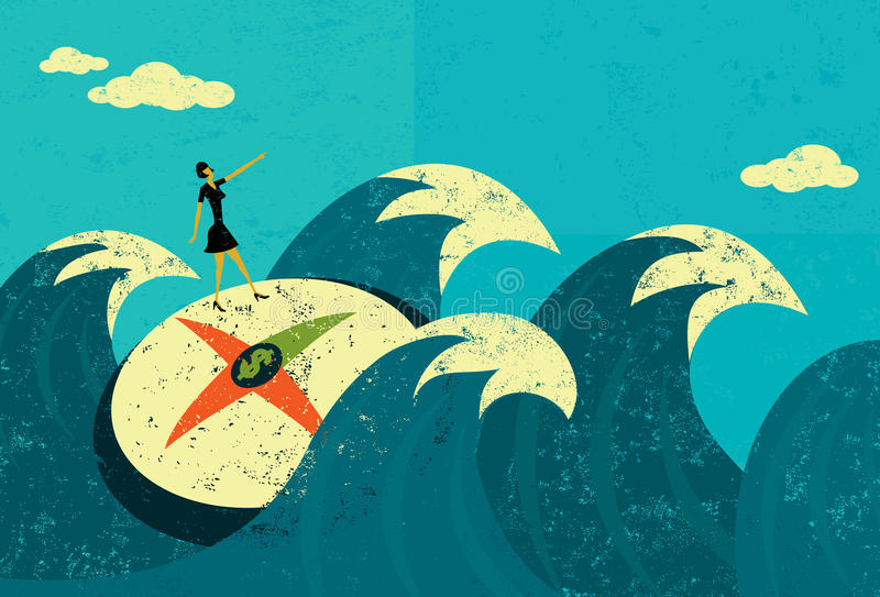 Searching for revenue in unchartered waters. A businesswoman searching for new revenue in unchartered waters. The woman, compass, and waves are on a separate royalty free illustration