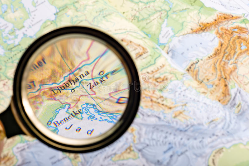 Searching Slovenia On Map Stock Photo Image Of Glass - Slovenia map download