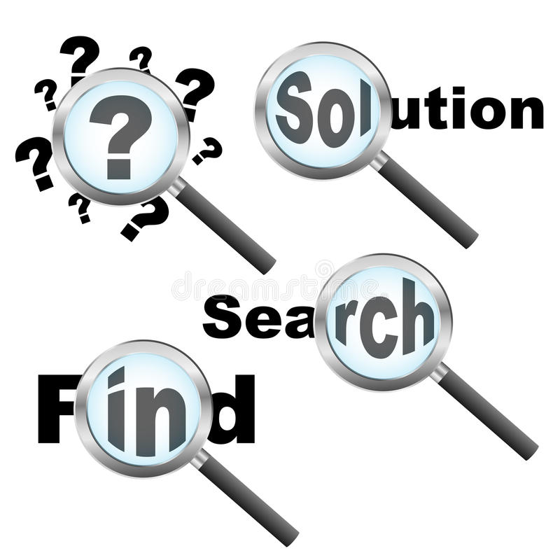 Searching solution design stock illustration