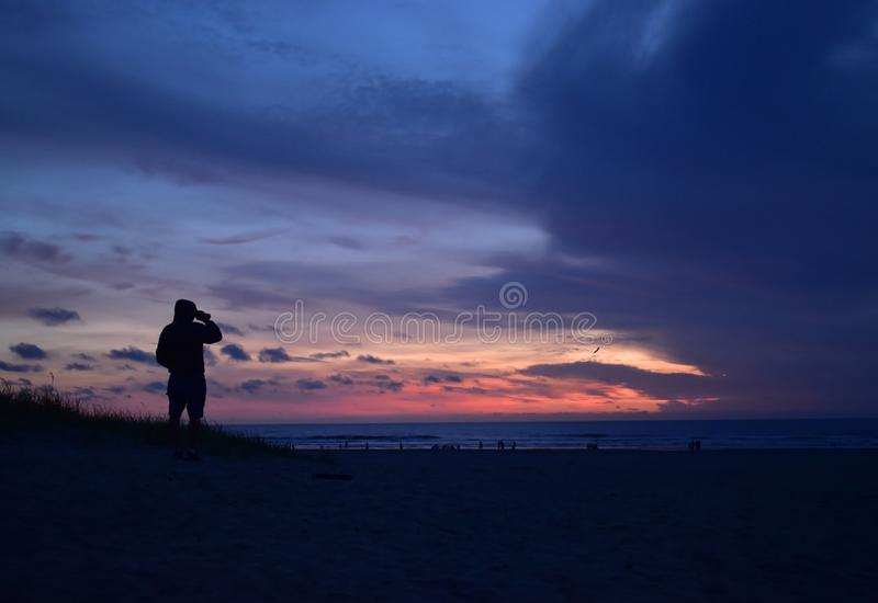 Searching the sunset royalty free stock photography