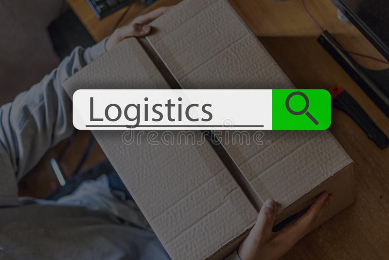 Searching tab on top of concept image with word logistics g. Searching tab on top of concept image with word logistics stock image