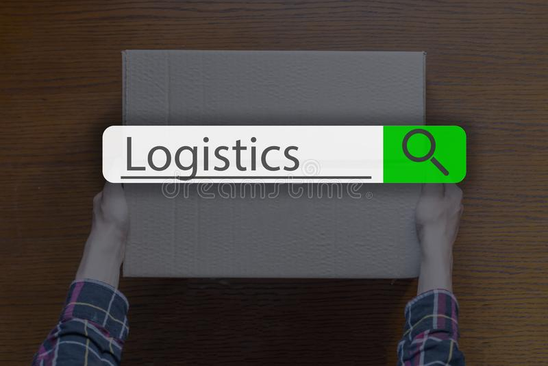 Searching tab on top of concept image with word logistics g. Searching tab on top of concept image with word logistics royalty free stock photo