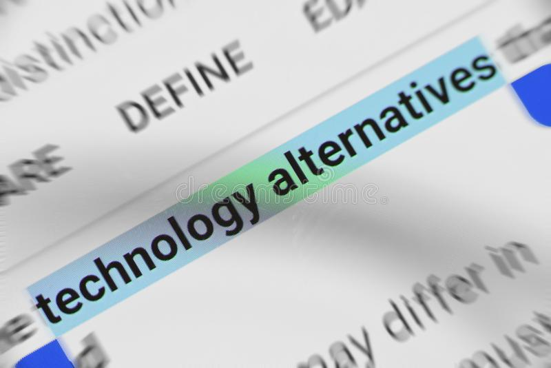 Word `Technology alternatives` selected and highlighted digitally on mobile display screen royalty free stock photos