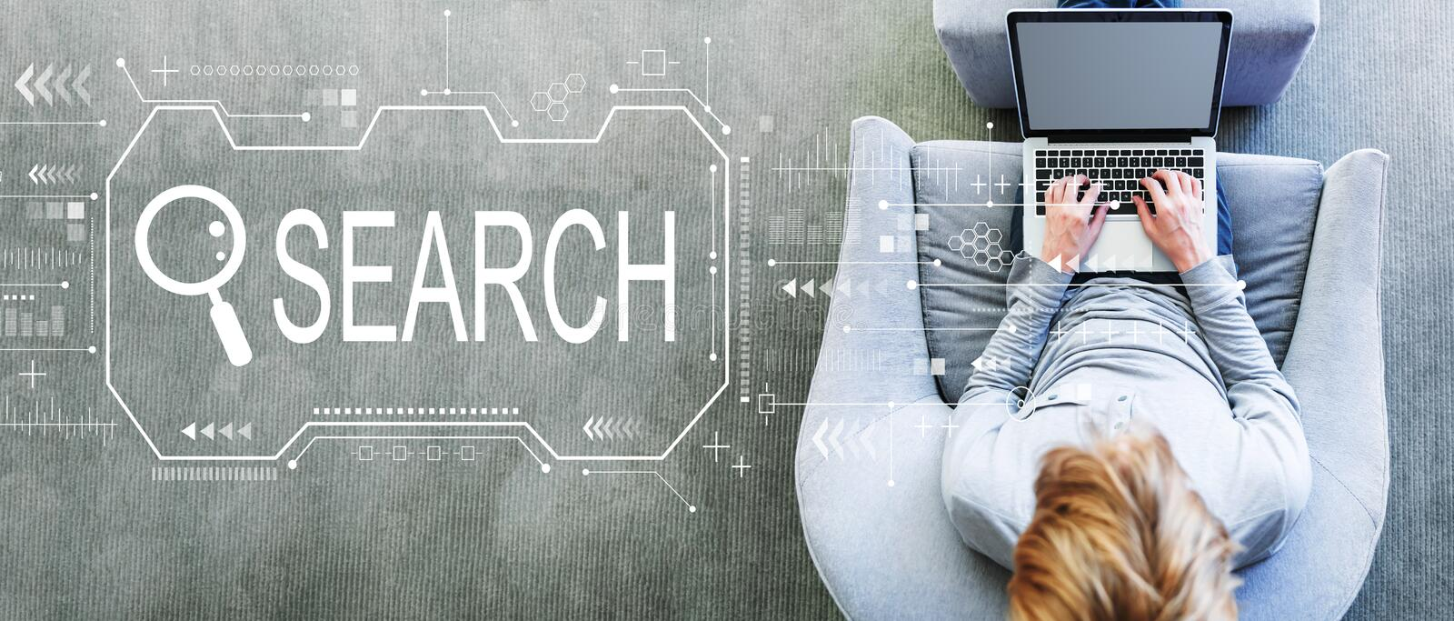 Searching theme with man using a laptop stock photo