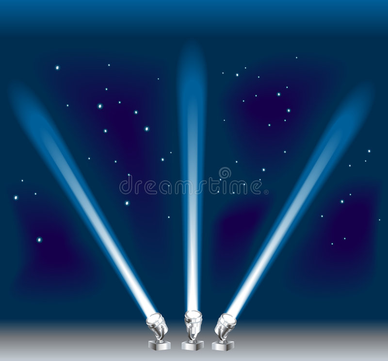 Searchlights. Some search/ spotlights. Shading by blends, no meshes used royalty free illustration