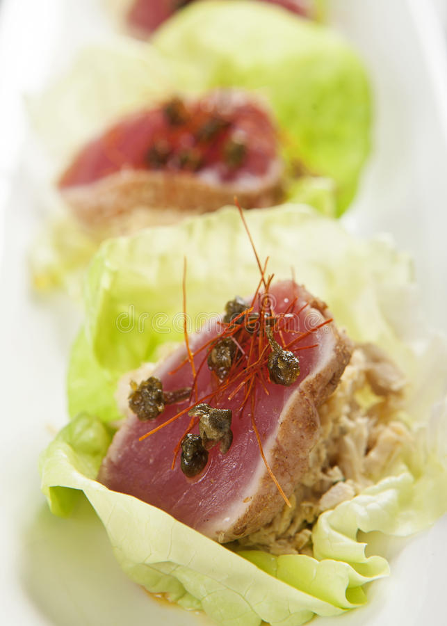 Seared Ahi Tuna in Lettuce Cup stock photos