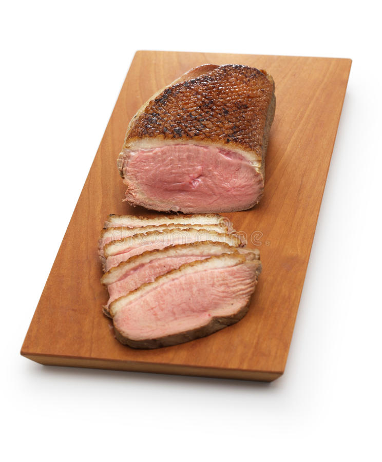 Seared duck breast steamed, japanese cuisine royalty free stock images