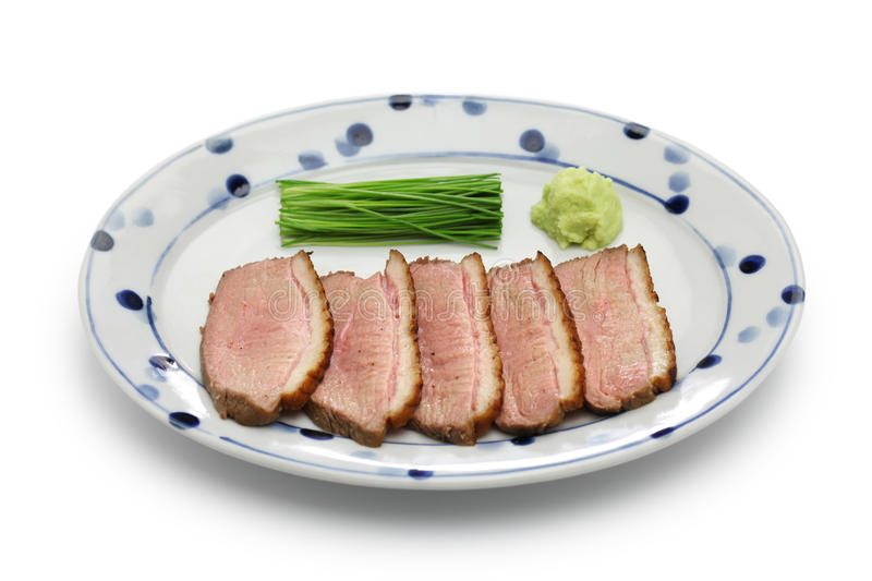 Seared duck breast steamed, japanese cuisine royalty free stock photos