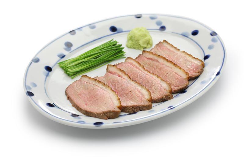 Seared duck breast steamed, japanese cuisine royalty free stock photo