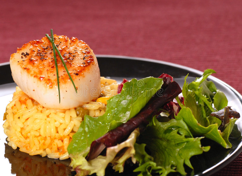 Download Seared Scallop On Rice With A Crisp Salad Stock Image - Image: 5578323