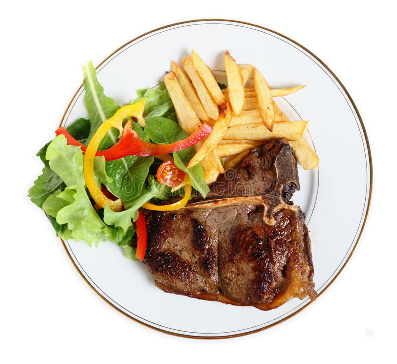 Free Seared T-bone Steak Meal From Above Royalty Free Stock Photo - 18696355