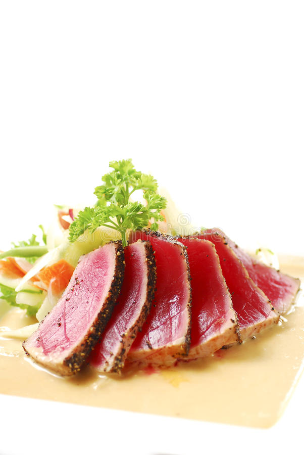 Seared Tuna with Cream Sauce royalty free stock photos
