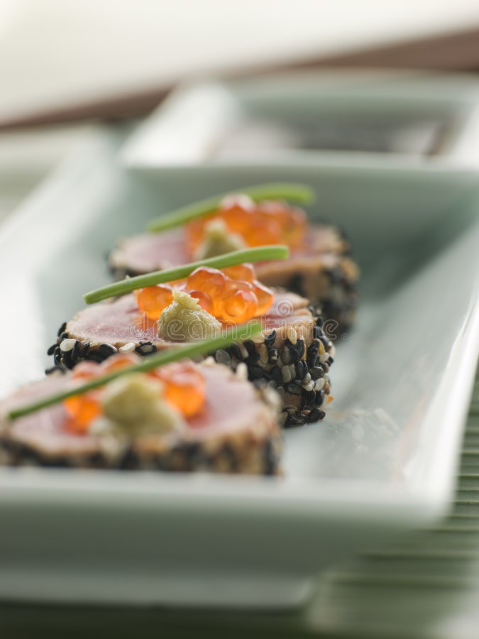 Seared Yellow Fin Tuna Rolled In Sesame Seeds With Stock Images