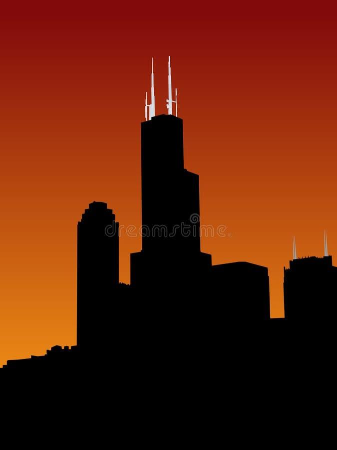 Sears Tower en la puesta del sol libre illustration